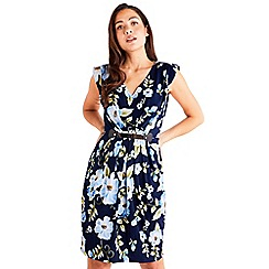 Mela London - Navy Tropical Floral Belted Dress