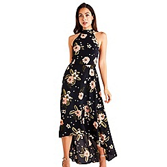Mela London - Black Floral Dipped Hemline Maxi Dress