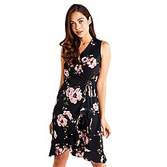 Mela London - Black Floral Wrap Dress