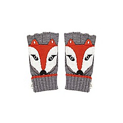 Yumi - Grey Embellished Fox Fingerless Gloves