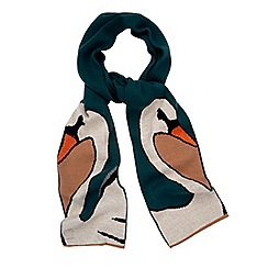 Yumi - Green Swan Print Knitted Scarf