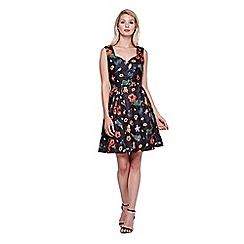 Yumi - black Skater Dress With Textured Floral Print