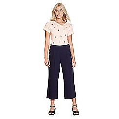 62575_YB00100643: Navy high waisted culotte trousers