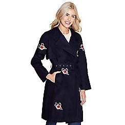 Yumi - Navy trench coat 'Jannah' with flower embroidery