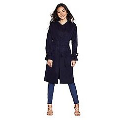 Yumi - Navy gathered ruch trench coat