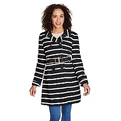 Yumi - Black monochrome stripe print trench coat