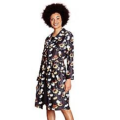 Yumi - Black woven poppy printed 'layla-mae' trench coat