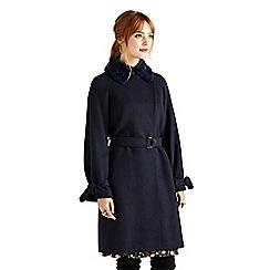 Yumi - Navy herringbone coat