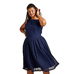 Yumi Curves - Navy Floral Lace Midi Skater Dress