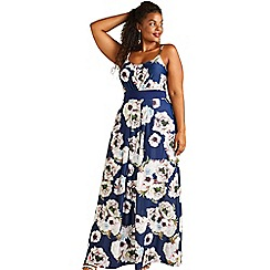 Yumi Curves - Navy floral sleeveless maxi dress