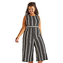 f634ce1b838 Yumi Curves - Black stretch striped plus size culotte jumpsuit
