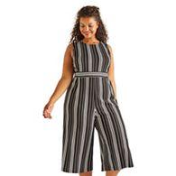 0a6e8fc323081 Yumi Curves - Black stretch striped plus size culotte jumpsuit