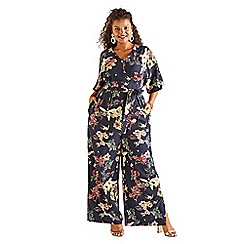 Yumi Curves - Navy floral print jumpsuit