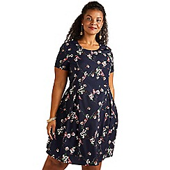 Yumi Curves - Navy bird and floral printed skater dress