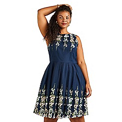 Yumi Curves - Navy Mirror Embroidery Dress