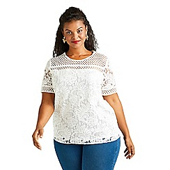 Yumi Curves - Ivory lace detail top