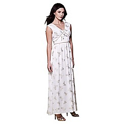 Yumi - Ivory foil butterfly maxi dress