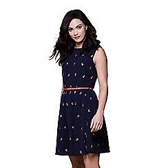 Yumi - Blue poppy embroidered dress