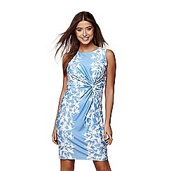 Yumi - Blue Floral Gathered Bodycon Dress