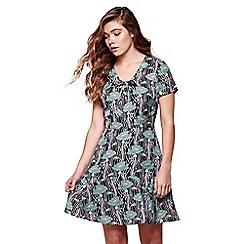 Yumi - Black poppy print skater dress