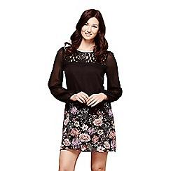 Yumi - Black floral print 'Aleeza' mini tunic dress