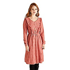 Yumi - Peach ruffled lace dress