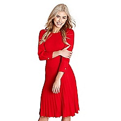 Yumi - Red pleated 'birgit' knitted dress