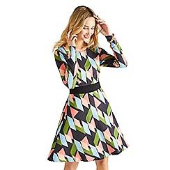 Yumi - Multicoloured abstract print 'Dominika' dress