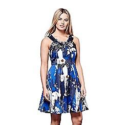 Yumi - Blue floral print 'Bella-rose' short skater dress