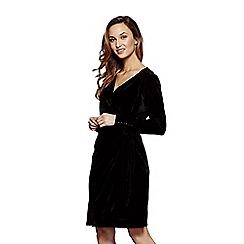 Yumi - Black velvet 'Diana' evening wrap dress