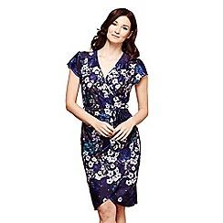 Yumi - Blue blue floral print 'Iman' midi wrap dress
