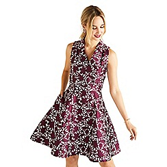 Yumi - Red floral print 'Elysia' jacquard party dress