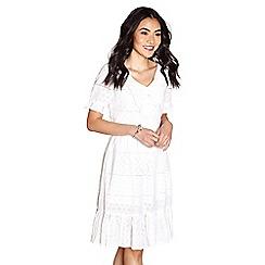 Yumi - Ivory broderie ruffle 'branwen' dress