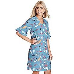 Yumi - Light blue abstract print 'canei' tunic dress