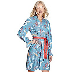 Yumi - Light blue abstract print 'chermona' dress
