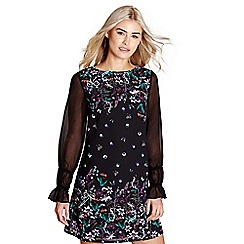 Yumi - Black floral print 'Paulina' mini tunic dress