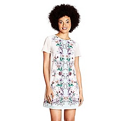 Yumi - Ivory floral print 'rahma' mini tunic dress