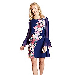 Yumi - Navy placement flower 'consuelo' tunic dress