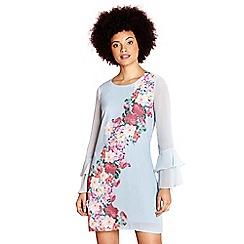 Yumi - Pale blue placement flower 'consuelo' tunic dress