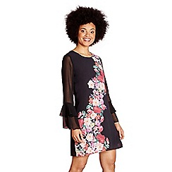 Yumi - Black placement flower 'consuelo' tunic dress