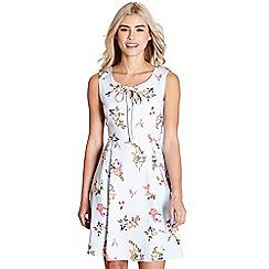 Yumi - Pale blue french botanical stripe 'cosette' dress