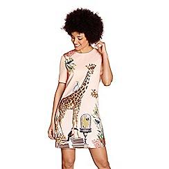 Yumi - Peach statement giraffe 'paisley' tunic dress