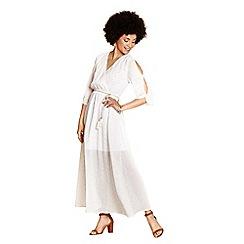 Yumi - Ivory grecian metallic 'Khadeeja' maxi dress