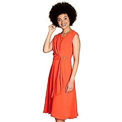 62575_YD00106803: Red draped eyelet dagny sleeveless dress