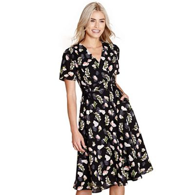 Yumi   Black Floral Print 'danae' Wrap Dress by Yumi