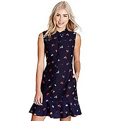 Yumi - Navy travel print 'danica' shirt dress