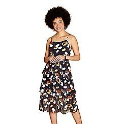 Yumi - Black frilled border poppy 'Chanelle' print dress