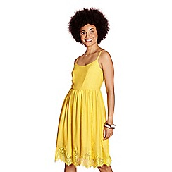 Yumi - Yellow flower lace trim dress