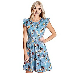 Yumi - Light blue floral print 'demetria' day dress