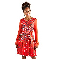 Yumi - Red butterfly and bird print 'Valory' dress